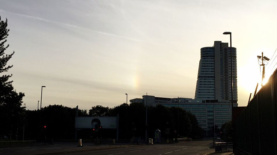 Sun Dog Rainbow Colours Sky Evening Outdoors Cloud Architecture Sky Residential Structure Town