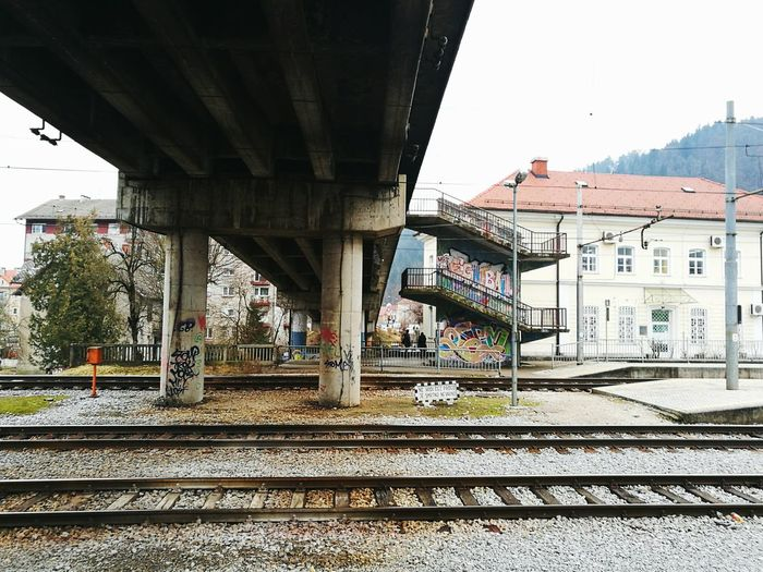 Forgot about my love. Bridge Under The Bridge Graffiti Grey Bridge - Man Made Structure Rail Transportation Day Outdoors City No People Sky Redhotchilipeppers Public Transport