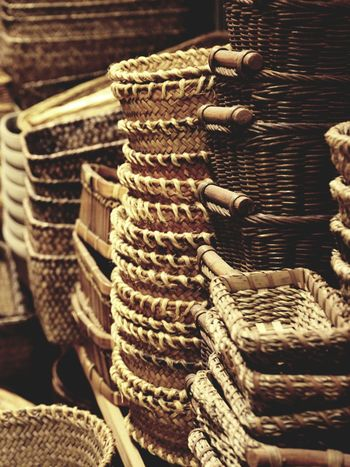 Wicker baskets Stack Food Close-up Healthy Eating No People Bakery Market Outdoors Freshness Day Wicker Basket Wickerwork Wicker EyeEmNewHere