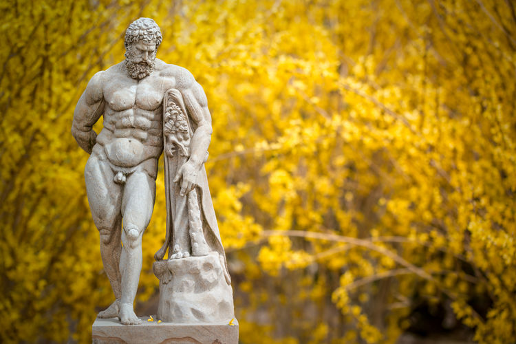 Botanical Gardens Man Marders BridgeHamptons Statue Warrior Zeus Abstract Forsythia Blooms Greek God Naked_art Yellow Paint The Town Yellow Paint The Town Yellow
