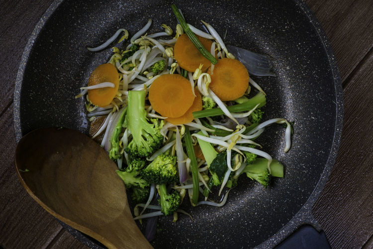 High angle view of vegetables in cooking pan
