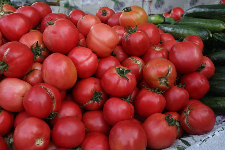 Tomatoes for sale at market stall