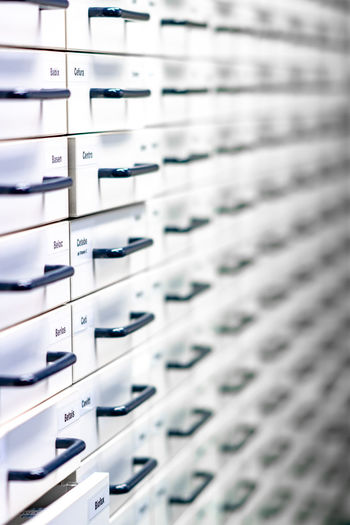 Pharmacy medicine drawers wall