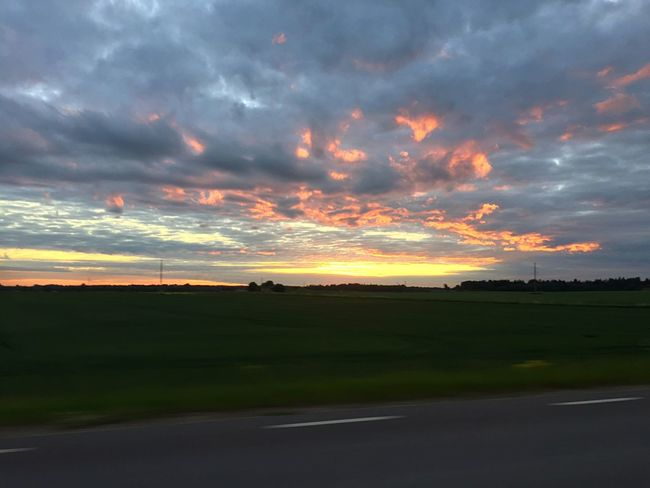Sunset Tranquil Scene Beauty In Nature Tranquility Scenics Nature Cloud - Sky Landscape Sky Field Orange Color Idyllic No People Silhouette Outdoors Horizon Over Land Road Rural Scene Grass