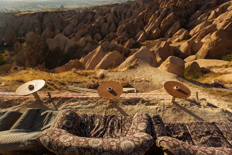 Aerial view of rock formations on land