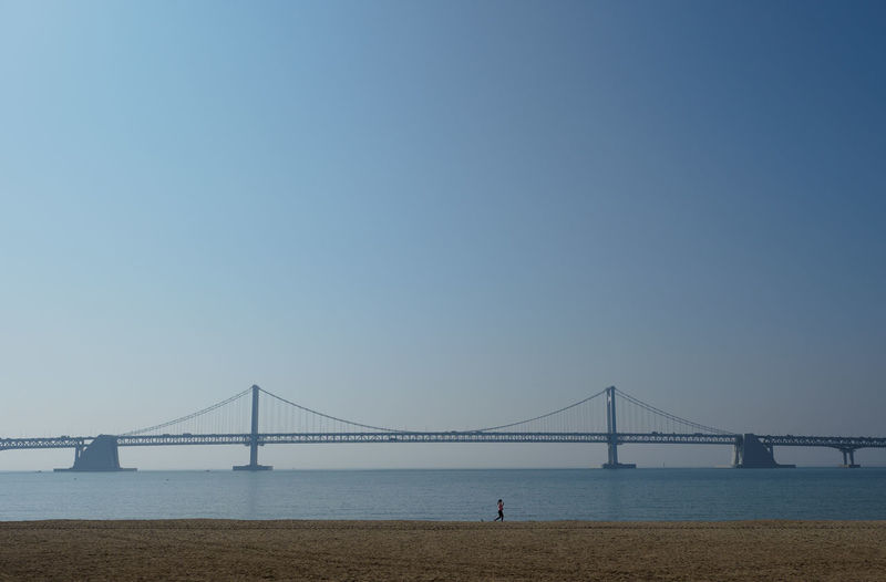 Diamond Bridge Exercise Gwangan Bridge Gwangandaegyo Jogging Time Korea Morning Run Running Architecture Bay Beach Bridge Built Structure Busan Clear Sky Connection Gwangali Beach Jogging Nature Relaxation Sea Tourism Transportation Travel Water