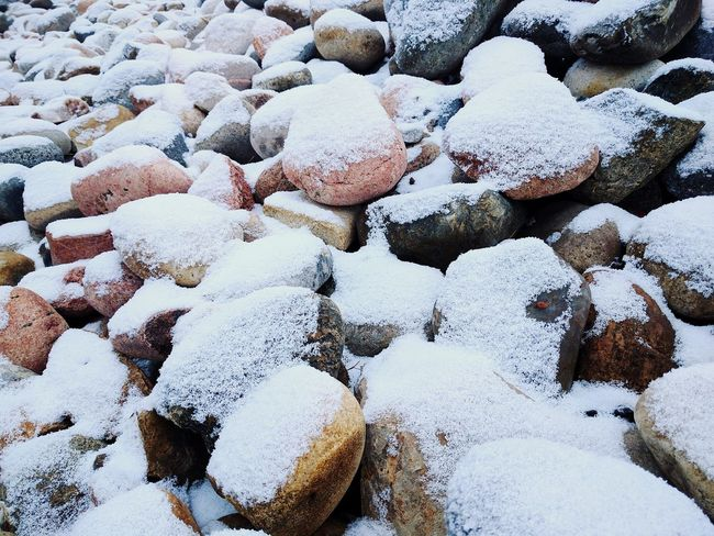 EyeEm Selects Beach Nature Winter No People Cold Temperature Pebble Outdoors Full Frame Day Frozen Pebble Beach Snow Beauty In Nature Colorado Close—up Rocks Close-up