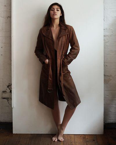 Studio Shot Studio Urban Warehouse Leather Jacket Brunette Fashion Beautiful Woman Beauty Full Length Portrait Women Indoors