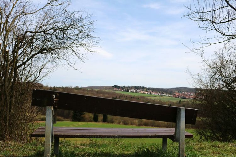 Simole and odd bench Sky Bare Tree Tree Grass Nature No People Day Silent Silence Melancholy Thinking About Life Odd Hanging Out Hanging Bench Village View Village Germany Green Yellow Brown