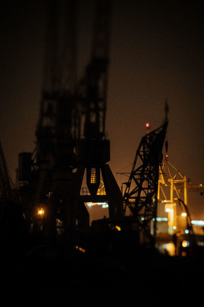 Hamburg Harbour New On Eyeem Architecture Built Structure Coal Mine Drilling Rig Illuminated Industry Low Angle View Machinery Moon Night No People Oil Pump Outdoors Silhouette Sky Squeezerlens