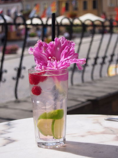 Katarzyna Dziemidowicz Alcohol Beauty In Nature Close-up Day Drink Drinking Glass Drinking Straw Flower Focus On Foreground Food And Drink Freshness Fruity Mint Leaf - Culinary Mojito Nature No People Outdoors Petal Pink Color Refreshment Summer Sun Table Water Waterfront