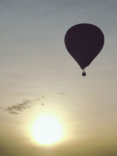Mid-air Flying Hot Air Balloon Sunset Sky No People Outdoors Nature Day