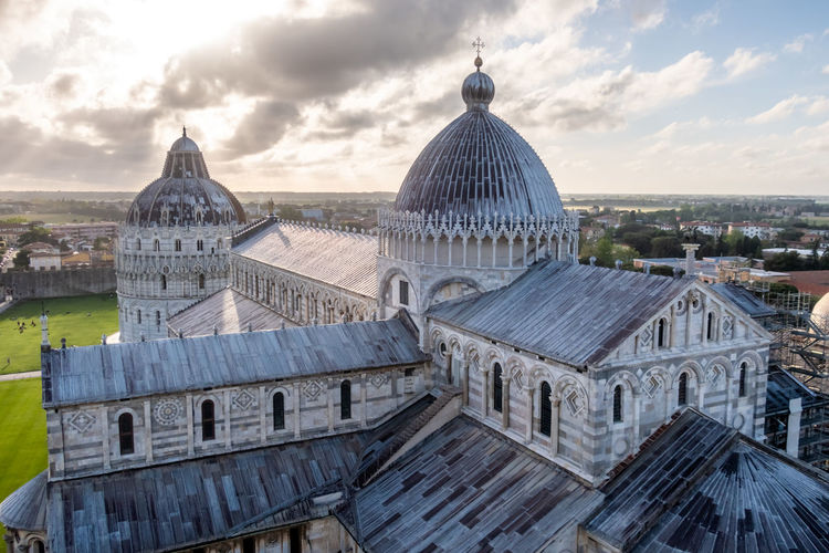 High angle view of cathedral against sky in city
