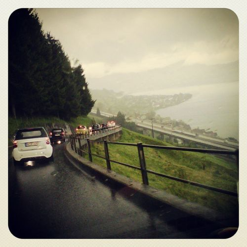 Driving in the rain. Smarttimes Lucerne Switzerland LastDay
