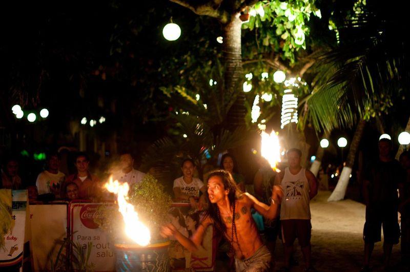 Group of people enjoying at night