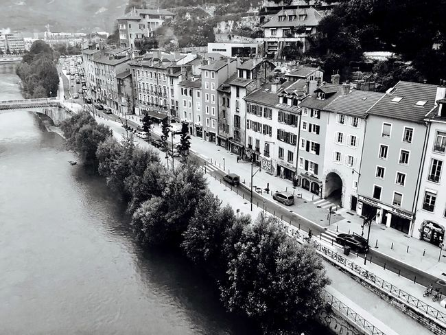 City Street Residential Building TOWNSCAPE House Town Blackandwhite Water Riverside Isere  Rhône-Alpes