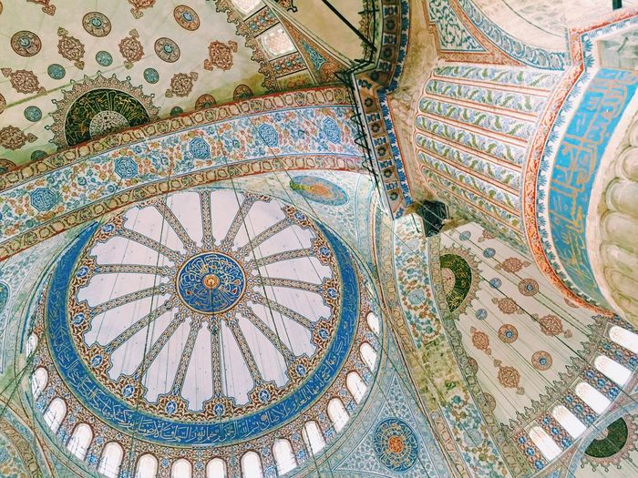 Mosque Tiles Architecture Ceiling Mozaic Turkey Istanbul Blue Mosque Religion Prayer Islam Pillar Dome Roof Traditional