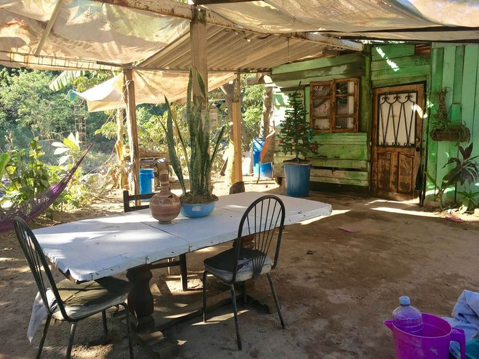 Mexican household No People Tranquil Scene Outdoors Riverbank Table Setting Al Fresco Alfresco Dining Small House Small House In The Woods Mexican Culture Hammock