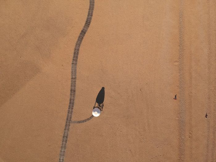 Aerial view of water tower at desert