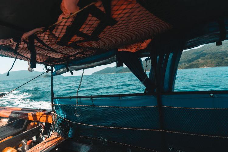 Interior of boat sailing in sea