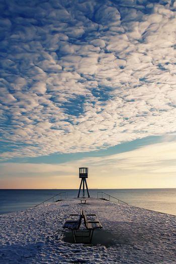 'Clouds' Landscapes, Clouds, Beach, Water, Ocean, Lifeguard Tower, Charlottenlund, Denmark, Sunrise, Blue,