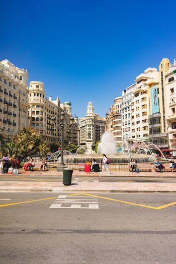 City view of Valencia, Spain. Valencia, Spain Travel Vacation Sightseeing Citylife City Architecture City History Arts Culture And Entertainment Blue Architecture Sky Amusement Park Historic Building Town Square Clock Tower Zebra Crossing Entertainment