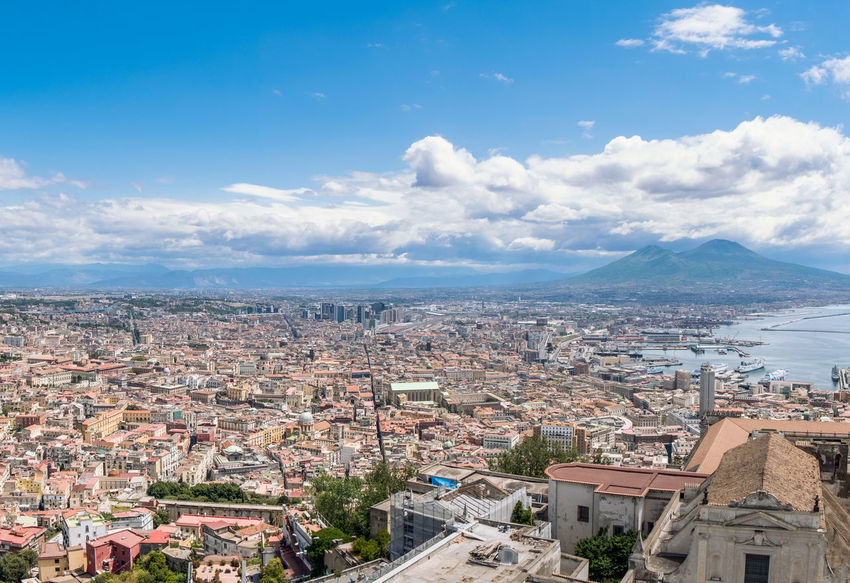 Architecture Building Exterior Built Structure City Cityscape Cloud - Sky Coastline Copy Space Crowded Day Mediterranean Culture Mediterranean Sea Mountain Mt Vesuvius Nature Outdoors Residential  Residential Building Rooftop Sky Tourism Town Travel Travel Destinations Volcano