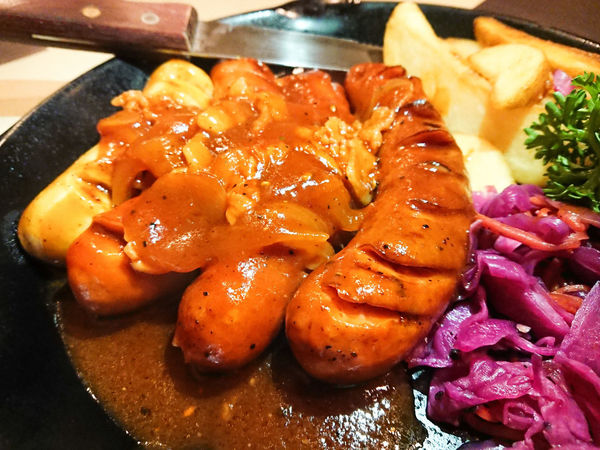 Sausages with fried potato Fried Potato Unhealthy Lifestyle Fast Food French Fries Gravy Fried Potato Fried Food Pan Serving Dish English Breakfast
