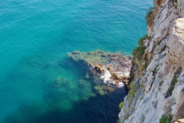 Polignano A Mare Sea Rock Water Beauty In Nature Blue High Angle View Nature Rock Formation Formation Outdoors Beach Turquoise Colored Rocky Coastline Tranquil Scene Scenics - Nature Tranquility No People Land Day Solid Rock - Object