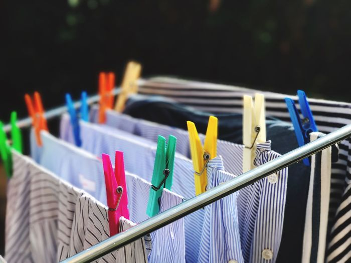 Multi Colored No People Variation Choice Large Group Of Objects Close-up Day Outdoors Blue Striped Sunlight Clothesline Clothes Clothespins Clothes Drying Washing Machine Choice Clothespin Washing Line Investing In Quality Of Life The Week On EyeEm Fashion Stories 17.62°