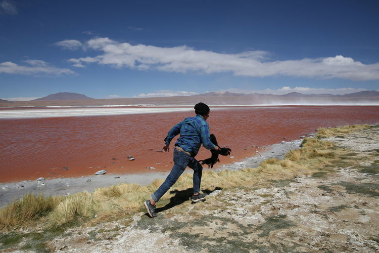 Bolivia Uyuni, Bolivia Leisure Activity Nature One Person Outdoors Real People Sand Scenics Strange Landscape Young Adult