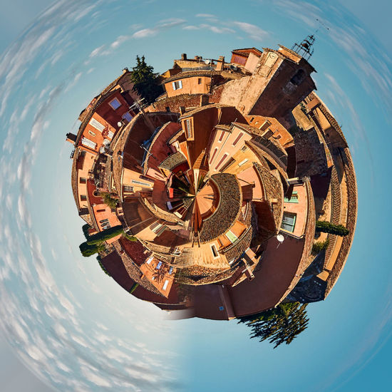 Little planet 360 degree sphere. Panorama of Roussillon village. One of the most impressive villages in France 360 Degree 360 Panorama Architecture France Panorama Panoramic Provence Alpes Cote D´Azur Skyline TOWNSCAPE Vaucluse Architecture Building Exterior Built Structure Circle City Cloud - Sky Luberon Outdoors Roussillon Sky Sunny Day Town Travel Destinations Village