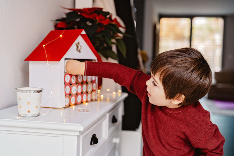 Rear view of boy with christmas tree at home