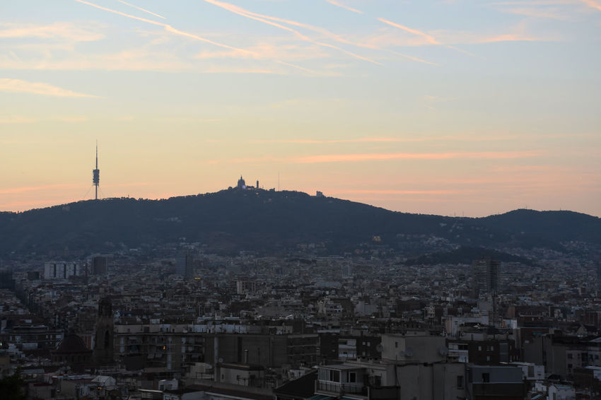 Barcelona skyline at sunset Sunset Building Crowded Crowd Orange Color TOWNSCAPE Cityskape Panoramic Cityscape City Outdoors Cloud - Sky Mountain Urban Landscape Europe