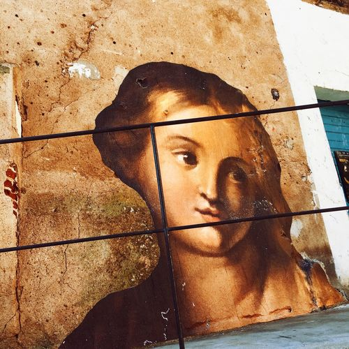 Street art Corsica Street Art Urban Frame Catholic Catholicism Viirgin Paint Medieval Portrait One Person Sunlight Real People Headshot Shadow Looking At Camera Human Face