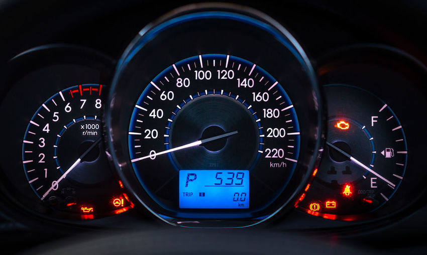Blue Car Car Interior Close-up Control Control Panel Dashboard Gauge Illuminated Indoors  Instrument Of Measurement Meter - Instrument Of Measurement Mode Of Transportation Motor Vehicle No People Number Speed Speedometer Technology Transportation