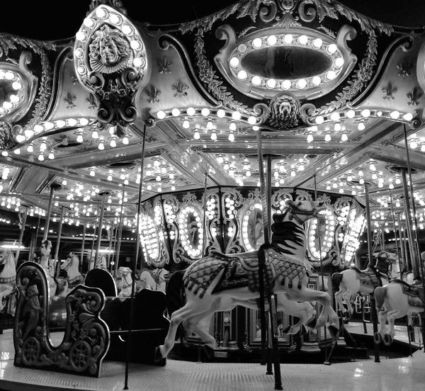 Amusement Park Carousel Arts Culture And Entertainment Amusement Park Ride Carousel Horses No People Day Day Out With Family Horses Lights And Shadows Live For The Story EyeEm Selects EyeEm Selects Black And White Friday