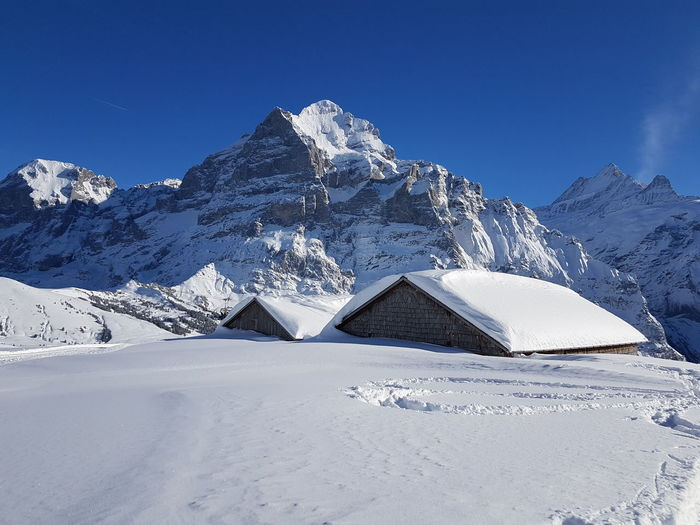 Wetterhorn Huts Huts And Sky Mountain Snow Cold Temperature Winter Snowcapped Mountain Triangle Shape Sky Landscape Travel