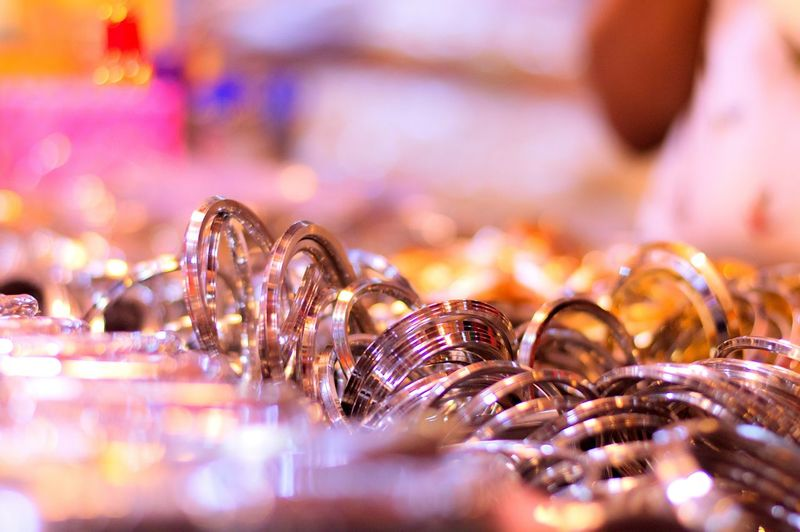 Close-up of bangles for sale at market