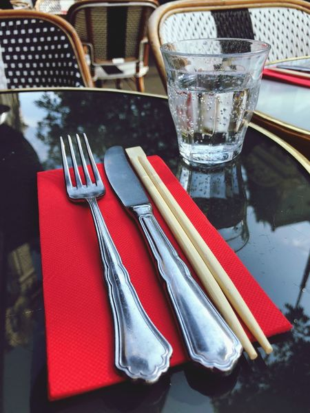 Grands Boulevards Terrasse Grands Boulevards Sticks Close-up Paris Table Food And Drink Fork Household Equipment Glass Food Restaurant High Angle View Knife Eating Utensil