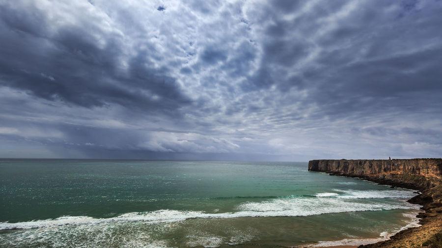 Scenic View Of Atlantic Ocean Against Cloudy Sky