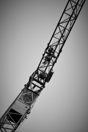 B/W Crane from below Black & White Kran Architecture Blackandwhite Built Structure Clear Sky Construction Equipment Construction Industry Construction Machinery Construction Site Copy Space Crane Crane - Construction Machinery Day Development Industry Low Angle View Machinery Metal Nature No People Outdoors Sky Tall - High
