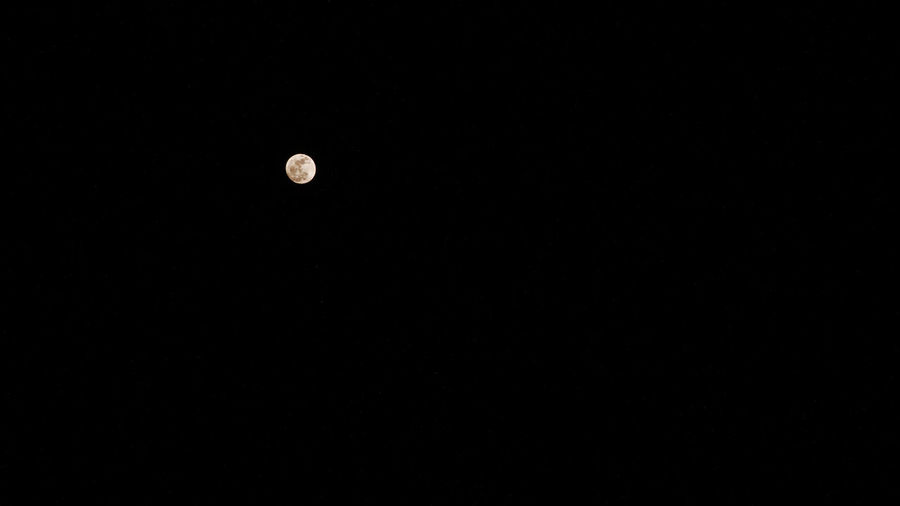 Low angle view of moon against clear sky at night