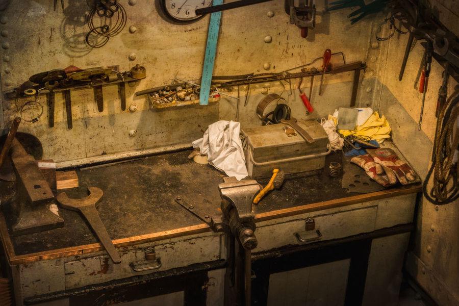 the repair shop on an old steam ship Machanic Naval Repair Shop Inside Ship Old Steam Ship Tools Worn