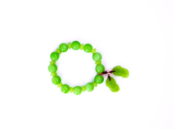 Beauty In Nature Bracelet Close-up Day Freshness Green Color Jade Leaf Nature No People Studio Shot White Background กำไลข้อมือ หยก