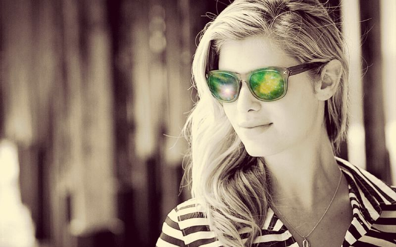 Space Stars Portrait Women Headshot Sunglasses Blond Hair