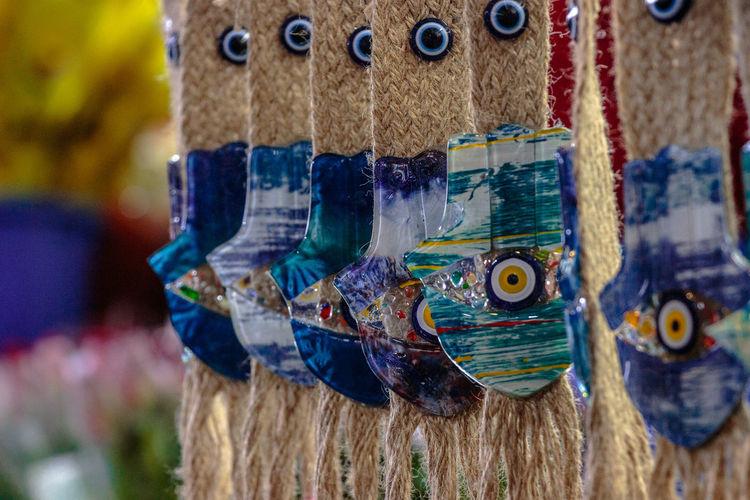 Evil eye Evil Eye Close-up Craft Fleamarket Focus On Foreground Multi Colored No People Oriental