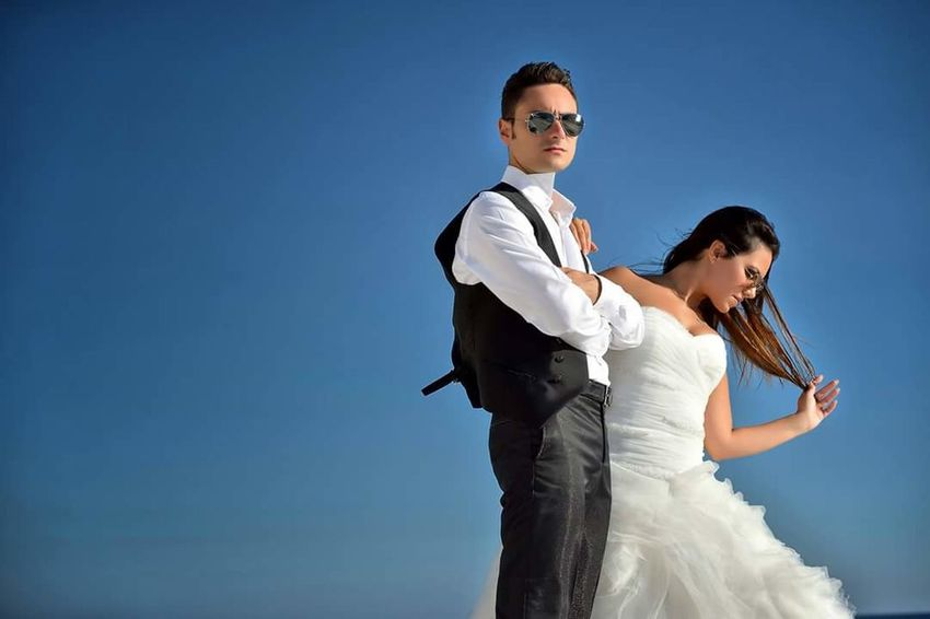 Wedding Bride Wedding Dress Clear Sky Blue Two People Sky Wife Standing People Portrait Bridegroom Beauty In Nature Travel Destinations Married Day Fashion Happiness Couple - Relationship Love