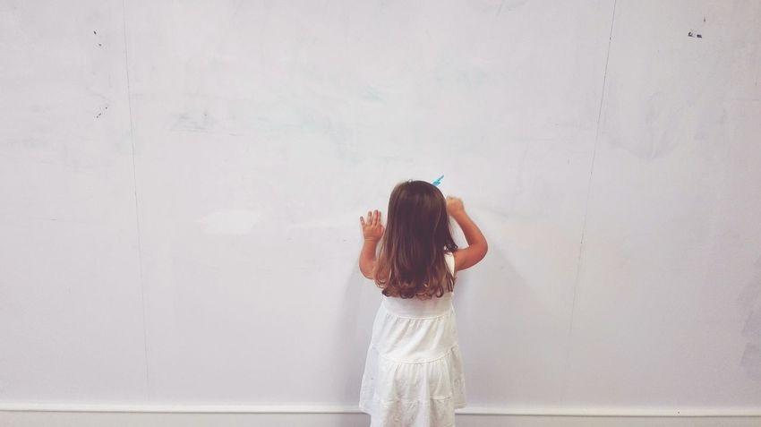 EyeEm Selects One Person People Indoors  Standing Child Children Only Childhood Holding Draw Drawing Long Hair One Girl Only Drawing - Activity White White Background White Color