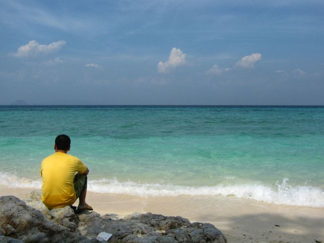 Horizon Over Water Sea Water Rear View Beach Men Tranquil Scene Shore Standing Relaxation Scenics Tranquility Sky Leisure Activity Getting Away From It All Full Length Tourist Looking At View Three Quarter Length Beauty In Nature